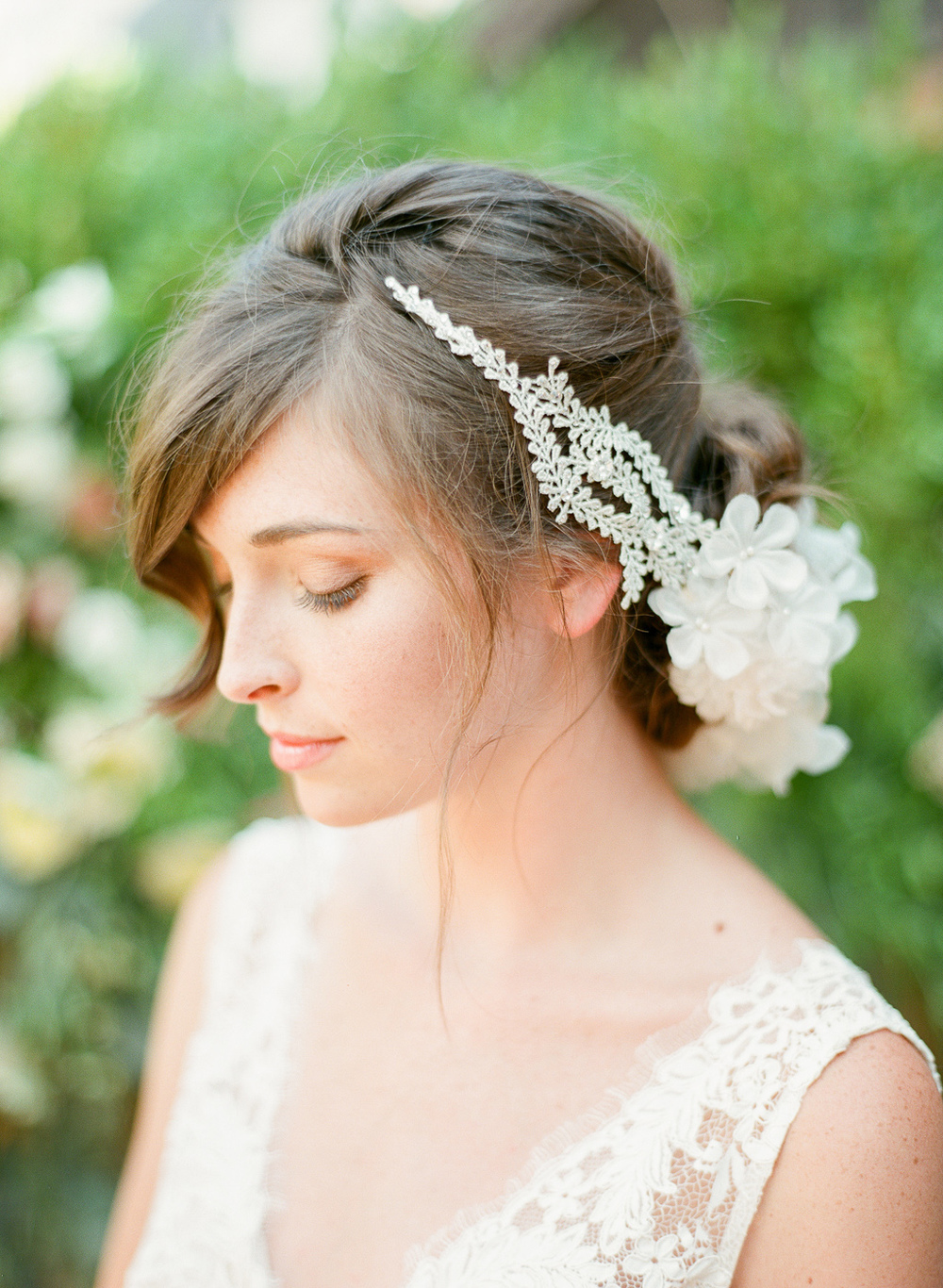 wedding halo silk flowers crystals silver vine by hushed commotion