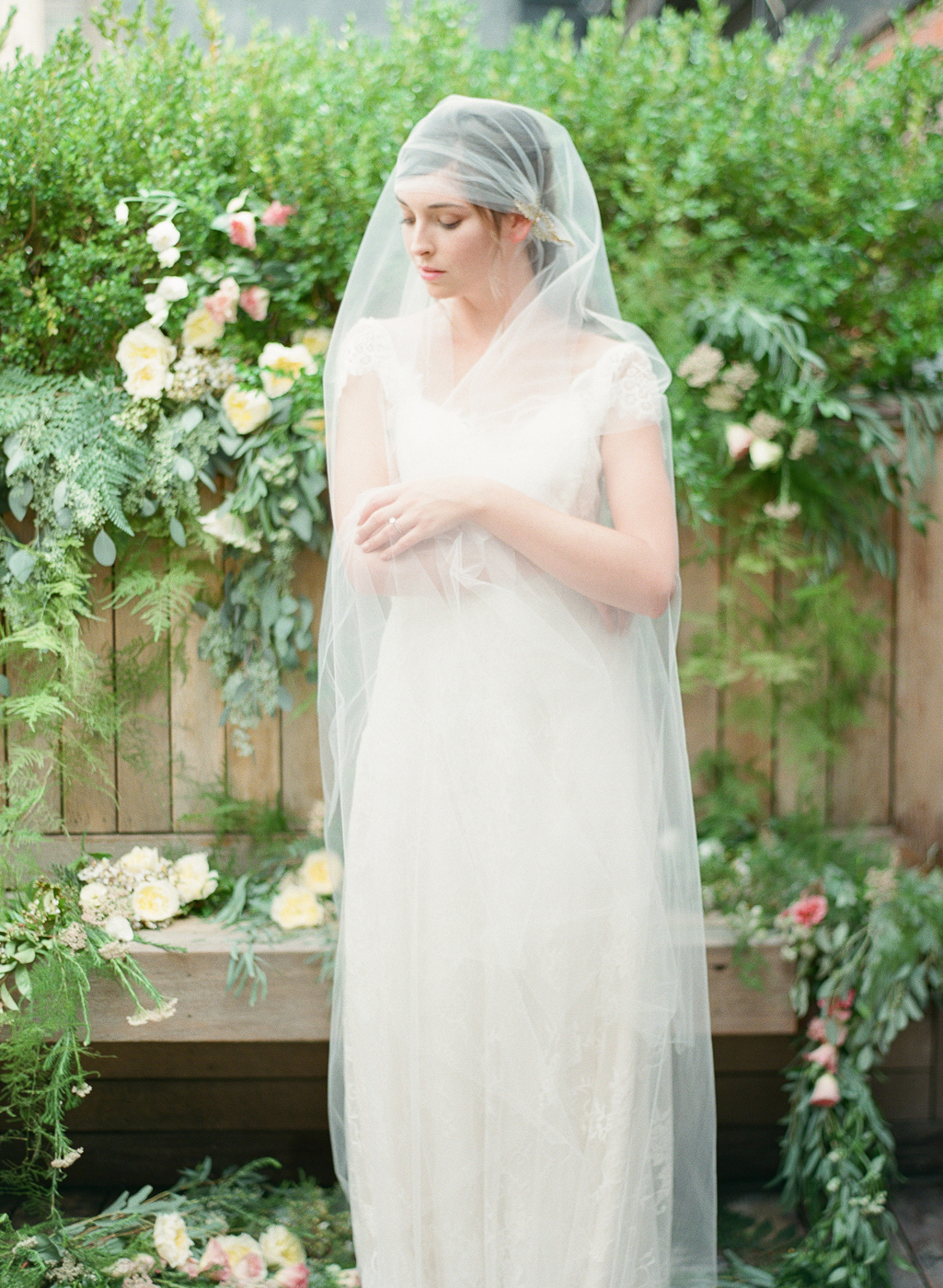 juliet cap tulle veil with gold vine flower crystal detail hushed commotion