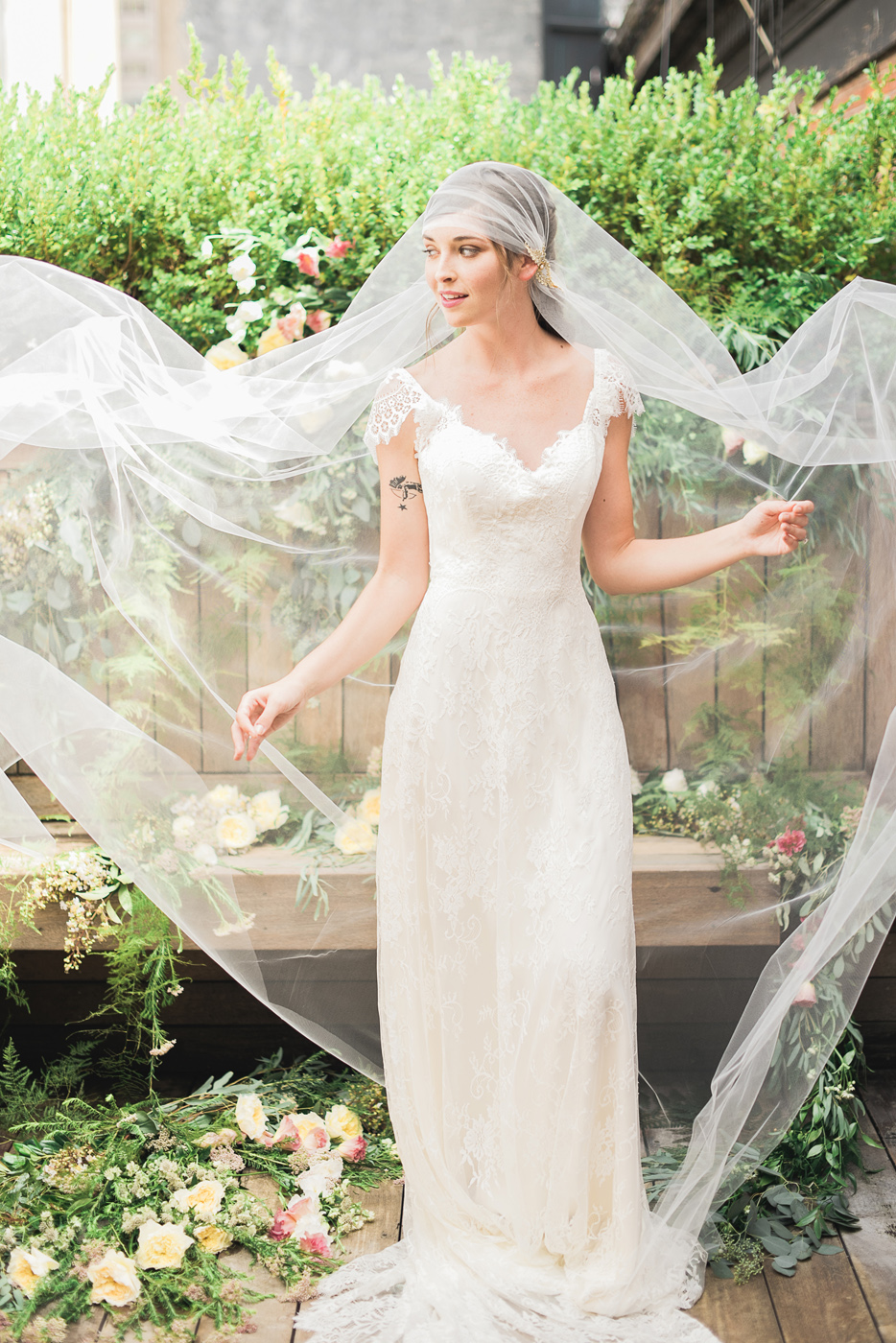 juliet cap tulle veil with gold vine flower crystal detail lace gown hushed commotion