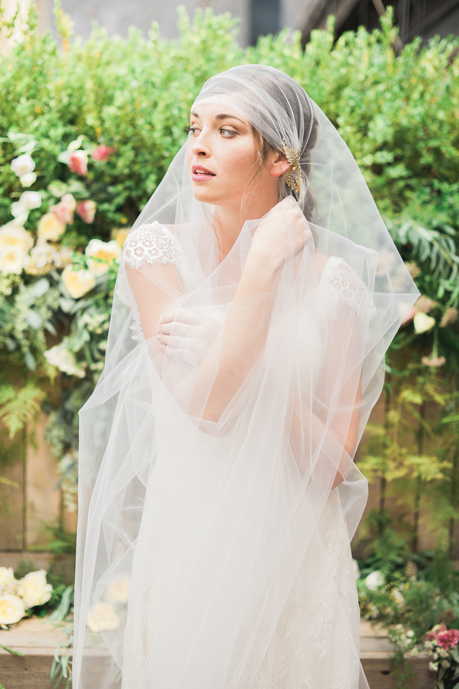 juliet cap tulle veil with gold vine flower crystal detail lace gown hushed commotionjuliet cap tulle veil with gold vine flower crystal detail  hushed commotion