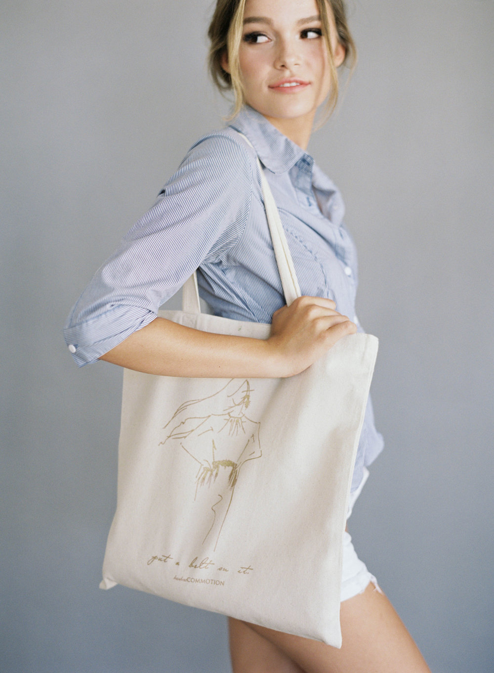 Hushed Commotion, Jen Huang, PUT A BELT ON IT TOTE.jpg