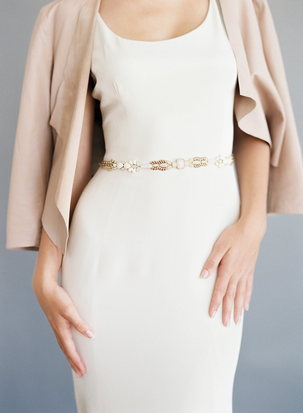 Hushed Commotion, Jen Huang, Piper blush belt with jacket.jpg