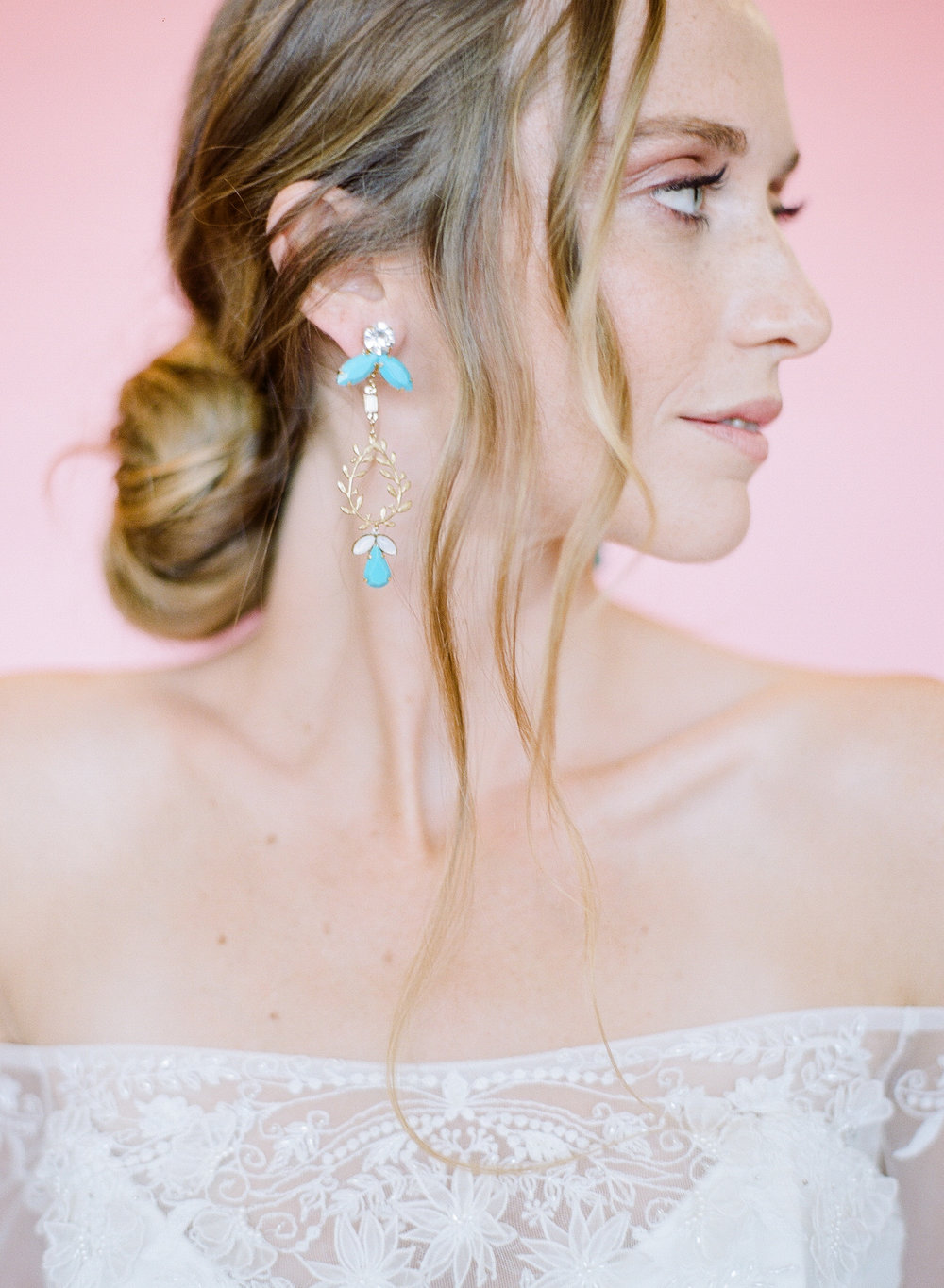 Hushed Commotion 2018, Rebecca Yale, turquoise boho glam wedding earrings side 2.jpg