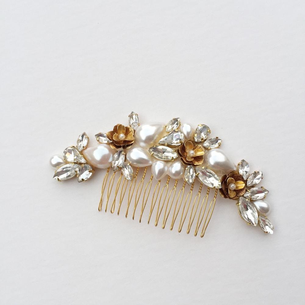 Custom Gold Hair Comb