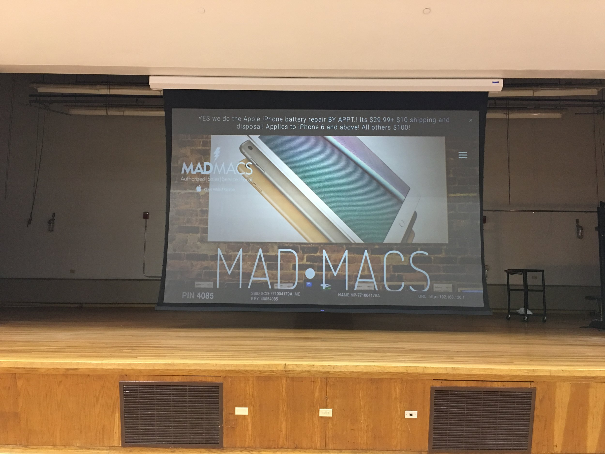 Custom 18' Screen Install with rear projection.