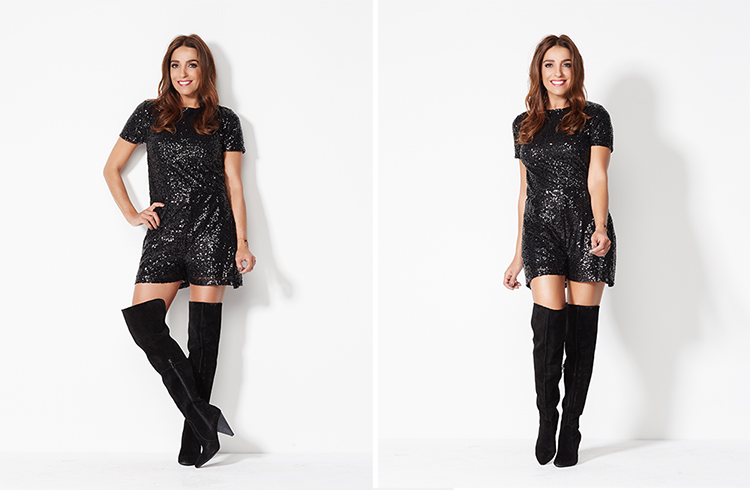 """WENDY WILLIAMS SEQUIN ROMPER    CHARLES DAVID """"PEPPER"""" OVER THE KNEE SUEDE BOOT"""