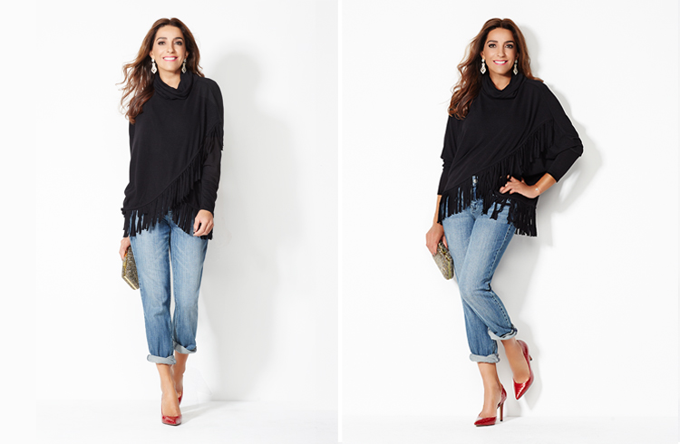"""GIULIANA STRETCH DENIM GIRLFRIEND JEAN     FAITH AND ZOE FRINGE PONCHO     JESSICA SIMPSON CLAUDETTE POINTED TOE D'ORSAY PUMP    VINCE CAMUTO """"LUV"""" LEATHER CLUTCH"""