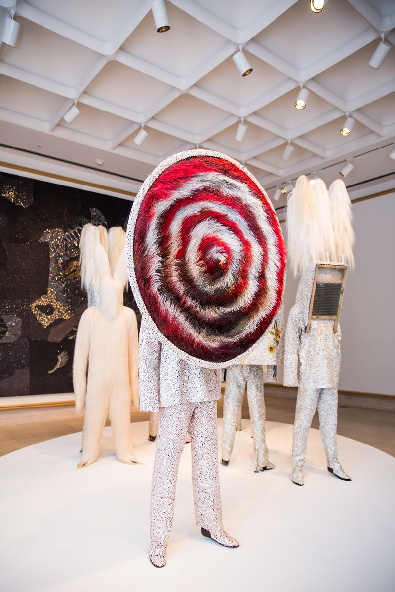 A Nick Cave soundsuit featured in his solo exhibition,  Here Hear,  at the Cranbrook Art Museum. (Sam Deitch/BFAnyc.com)