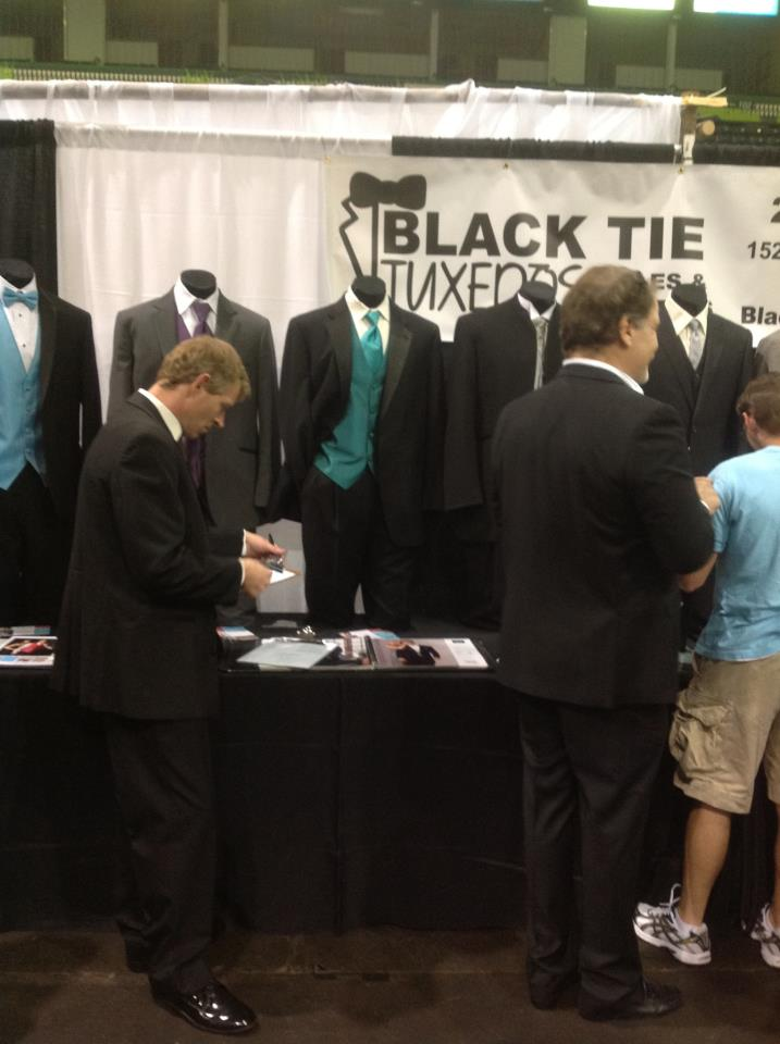 Black Tie Tuxedos booth at the February 2013 Bridal Blast.