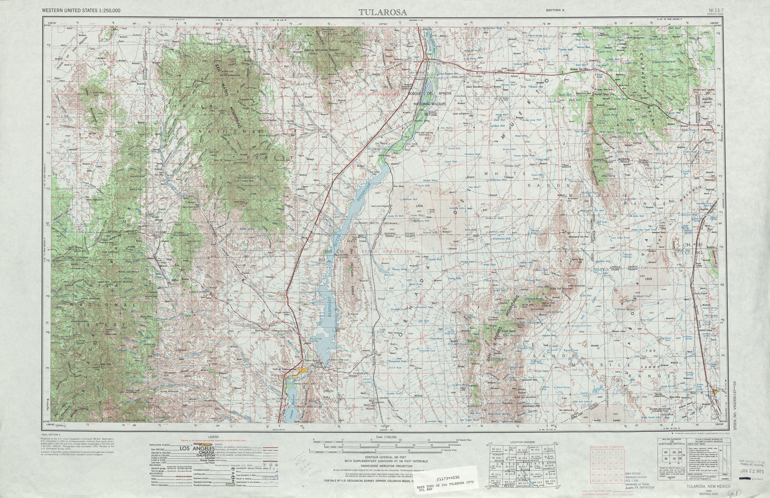 A map of the Tularosa region of New Mexico