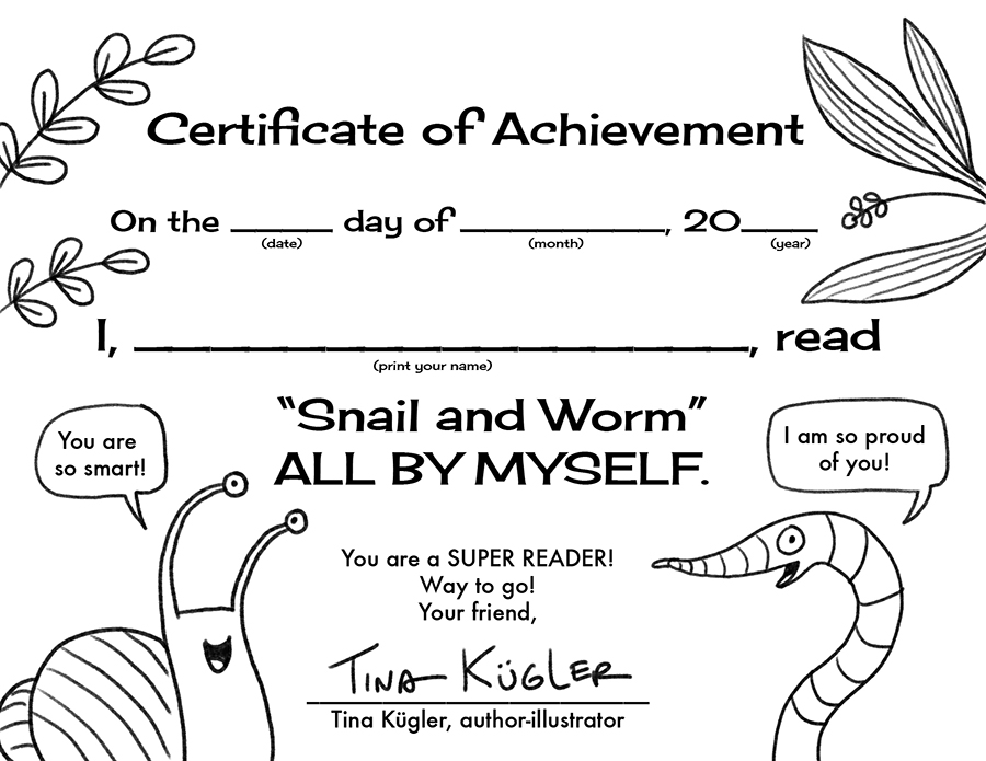Printable reading certificate from   Snail and Worm