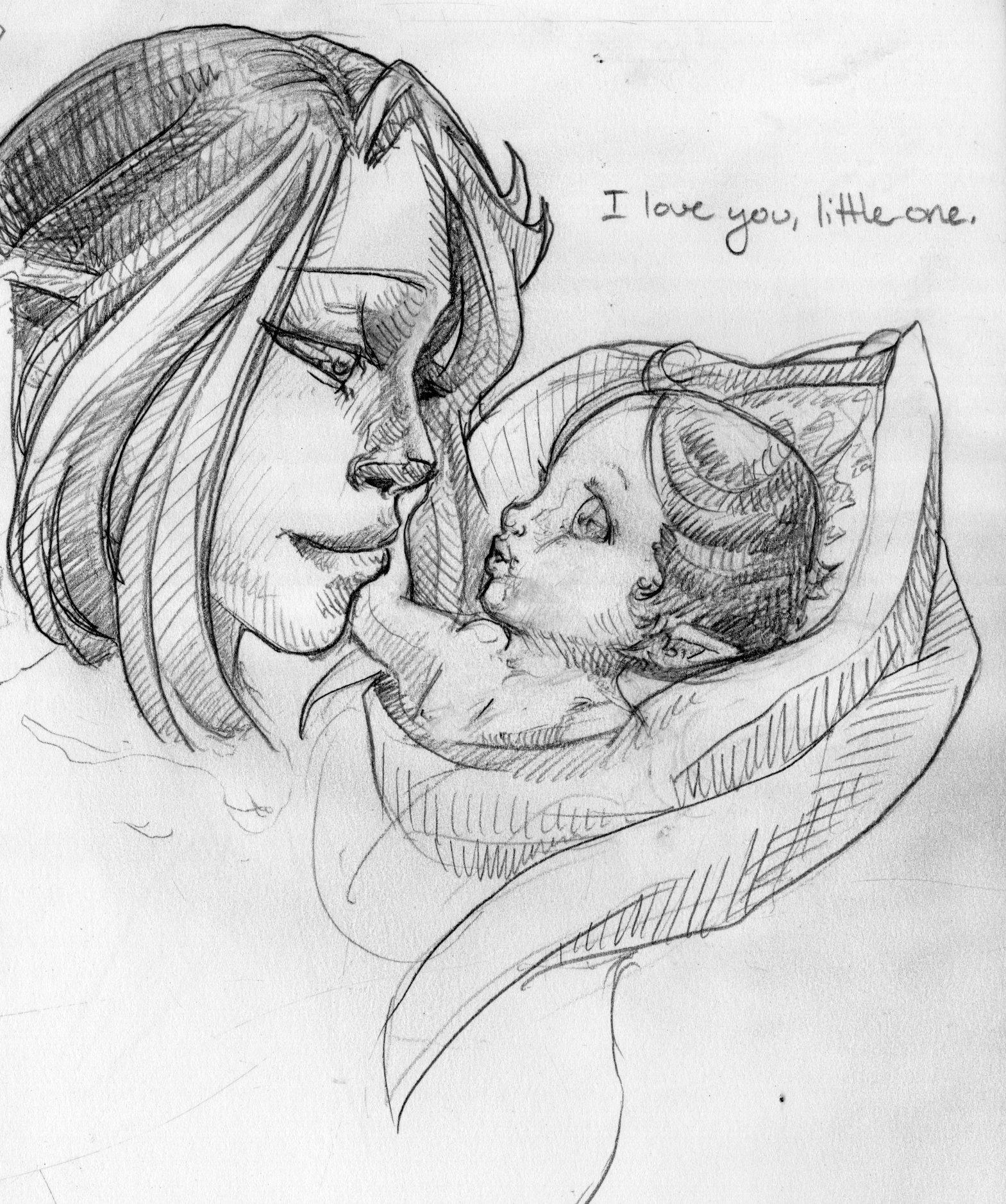 Alara and baby Kinaku detail