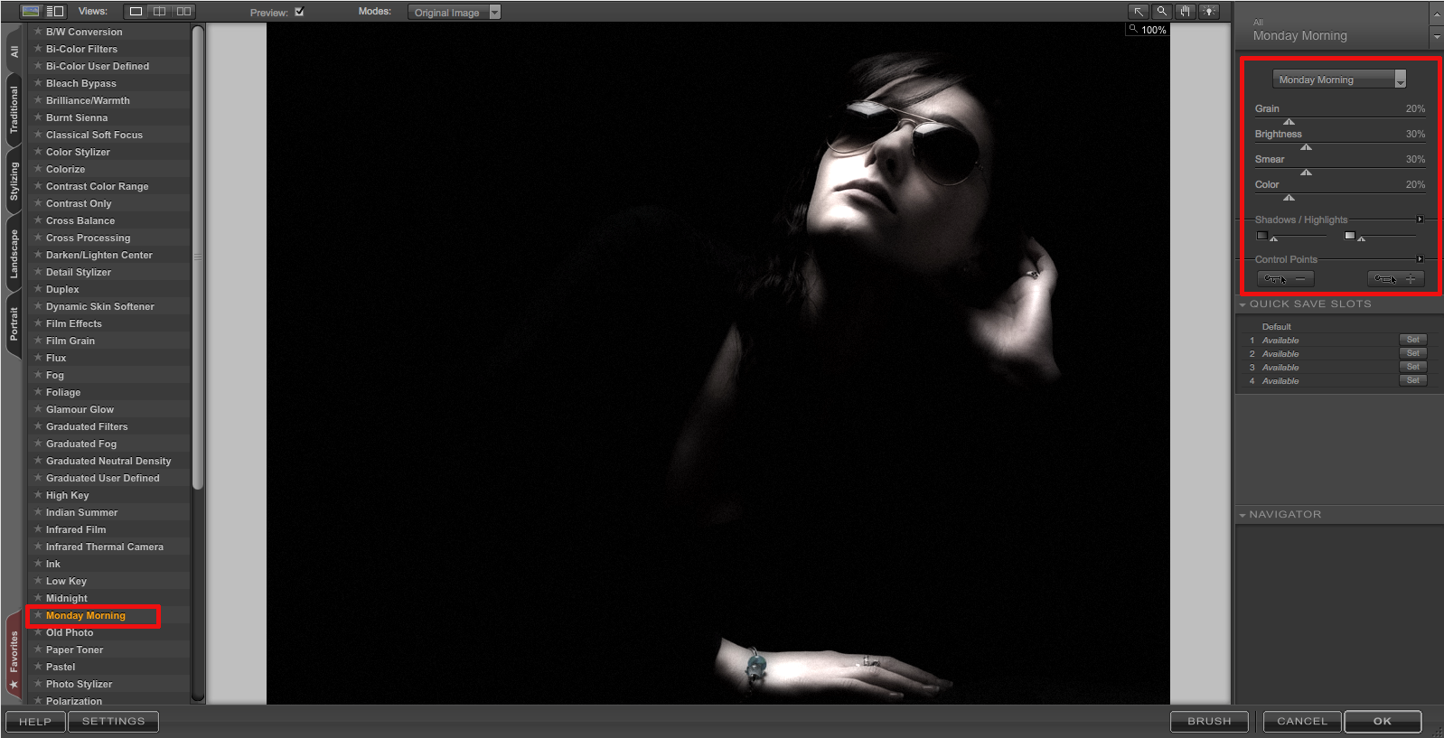 Screen grab of Nik Color Efex Pro main window.