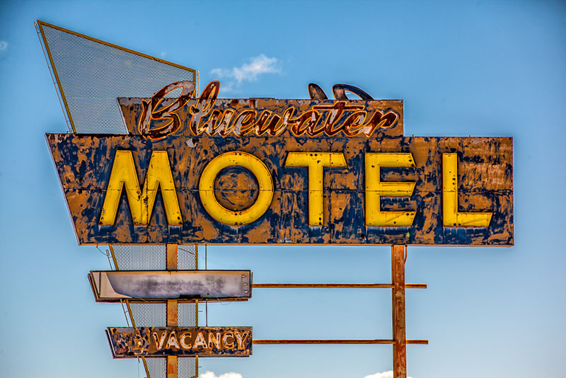 The grunge and classic design of this Bluewater Motel sign really caught my eye. I also loved the complimentary blue and bright yellow colors along with the rust and geometric shapes. You can just imagine how great this sign looked when it was first installed and turned on.
