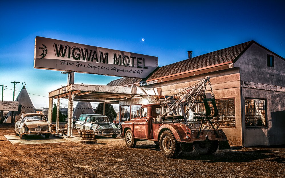 The Wigwam Motel office and classic cars at dawn. I shot this as a 5 exposure HDR with my Canon 24-70mm at a medium length. I processed this in Photomatix Pro, finishing it in Lightroom, NIK Color Efex and Photoshop.