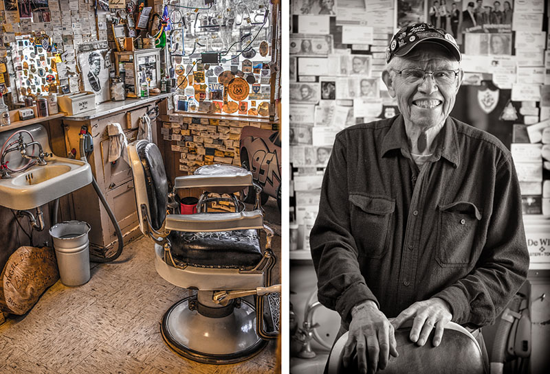 Left : Angel's barbershop is covered in history and business cards from all over the planet from people wjo have visited him and his beloved Seligman, AZ. I shot this with my Canon 35mm prime lens using the natural light from the window. Processed in Lightroom. And you may notice, that's Angel as a young man straight out of barber school, in the photo on the right hand side of the counter.    Right:  I took this portrait of Angel with my Canon 70-300mm using the natural light from the window to his left. He posed for as long as we wanted to shoot and then signed autographs for all of us.. He's an American original and made the trip something sopecial for all of us.