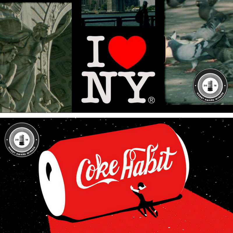 "- We are honored to announce that we've won awards in TWO categories from the 2018 Webby Awards! ""I Heart NY"" (Documentary: Individual Episode Shortform) and ""Coke Habit"" (Weird). We worked on these two short films with Dress Code and couldn't be prouder of them. Check out all the winners here!"