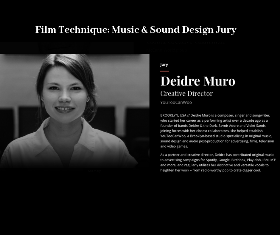 - YouTooCanWoo Creative Director, Deidre Muro has been selected as a juror for the 2019 60th annual CLIO Awards for the Film Technique: Music & Sound Design Jury!The CLIO Awards is an annual award program that recognizes innovation and creative excellence in advertising, design and communication, as judged by an international panel of advertising professionals.Learn more here