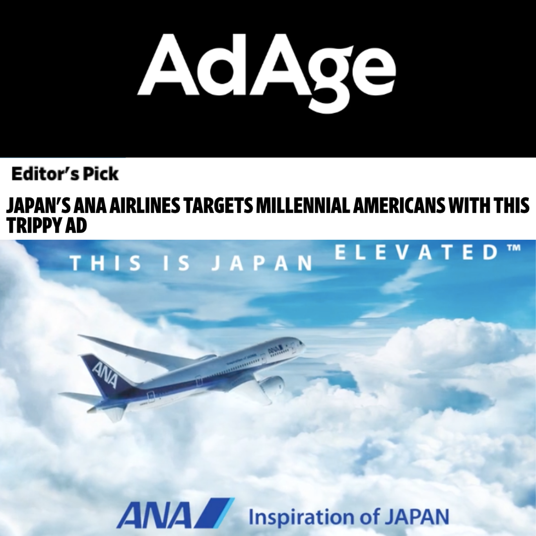 "- The brand new ad campaign from Japan's largest airline, ANA, has been featured as an ""Editor's Pick"" for Ad Age, the leading global source of news, intelligence and conversation for marketing and media communities.The spot, titled, ""Japan Elevated"" targets America's affluent millennials in it's first campaign for the U.S. Directed by Philippa Price, music video director and creative director for Rihanna and DJ Khaled's Grammy performance in 2018, ""Japan Elevated"" uses our original music which was specially created to communicate the airline's simple yet stylishly sophisticated brand."