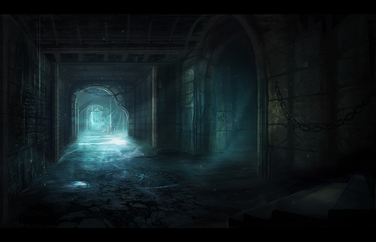 You enter the maze. - It's dark, with only enough light to see what's right in front of you. You step in and slowly follow the path.