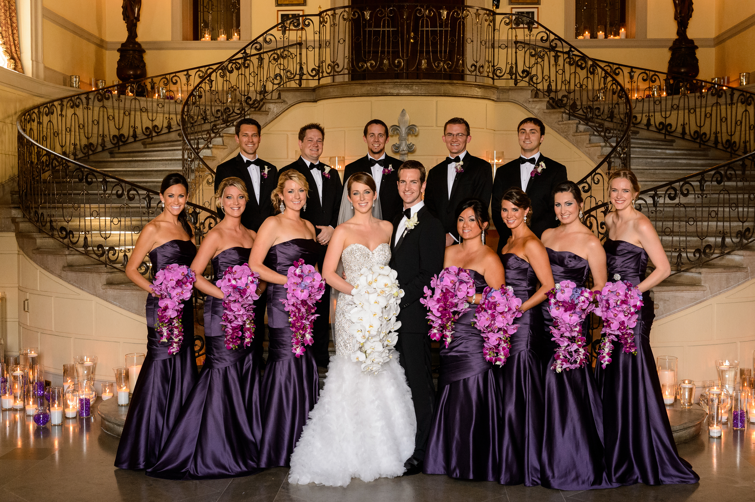 The entire bridal party, looking gorgeous in their bridesmaids gowns and tuxedos!