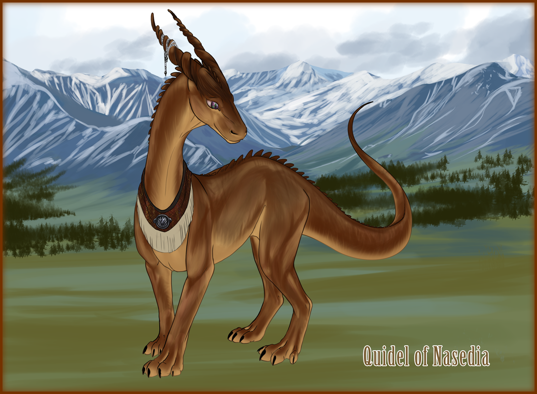 Quidel the firedrake, one of the supporting characters.