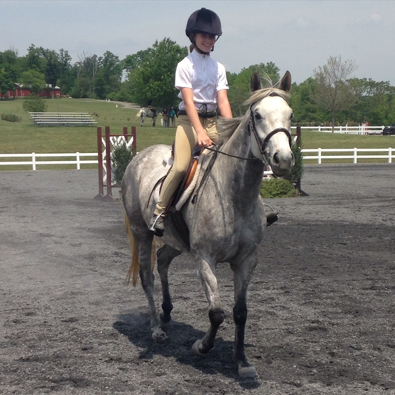 "Isabell and CJ at their first show together-- the only junior competing in the TB 2'6"" division!"
