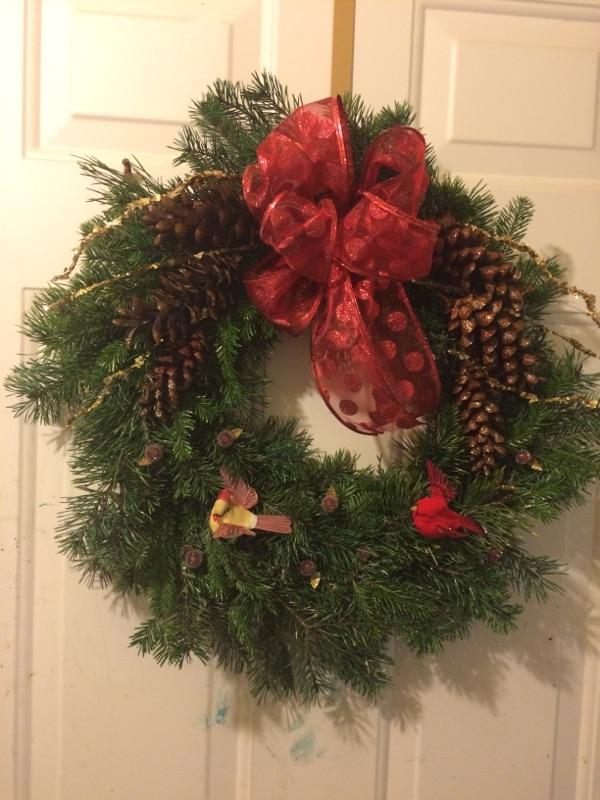 Cardianls Celebrating Xmas. Our most popular wreath $25.00 plus shipping