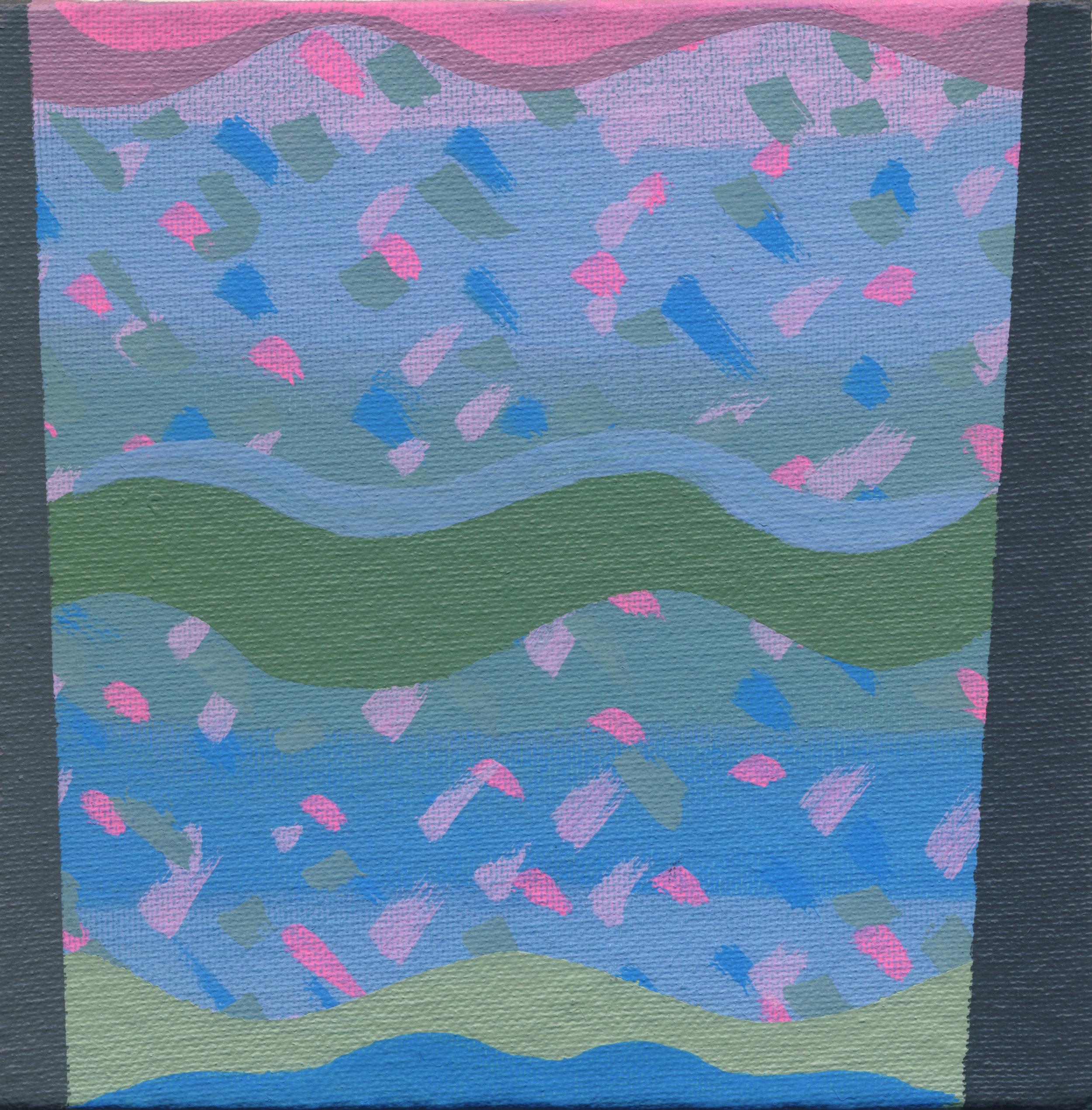 "2/100, Acrylic on canvas panel, 6"" X 6"", 1/8/19"