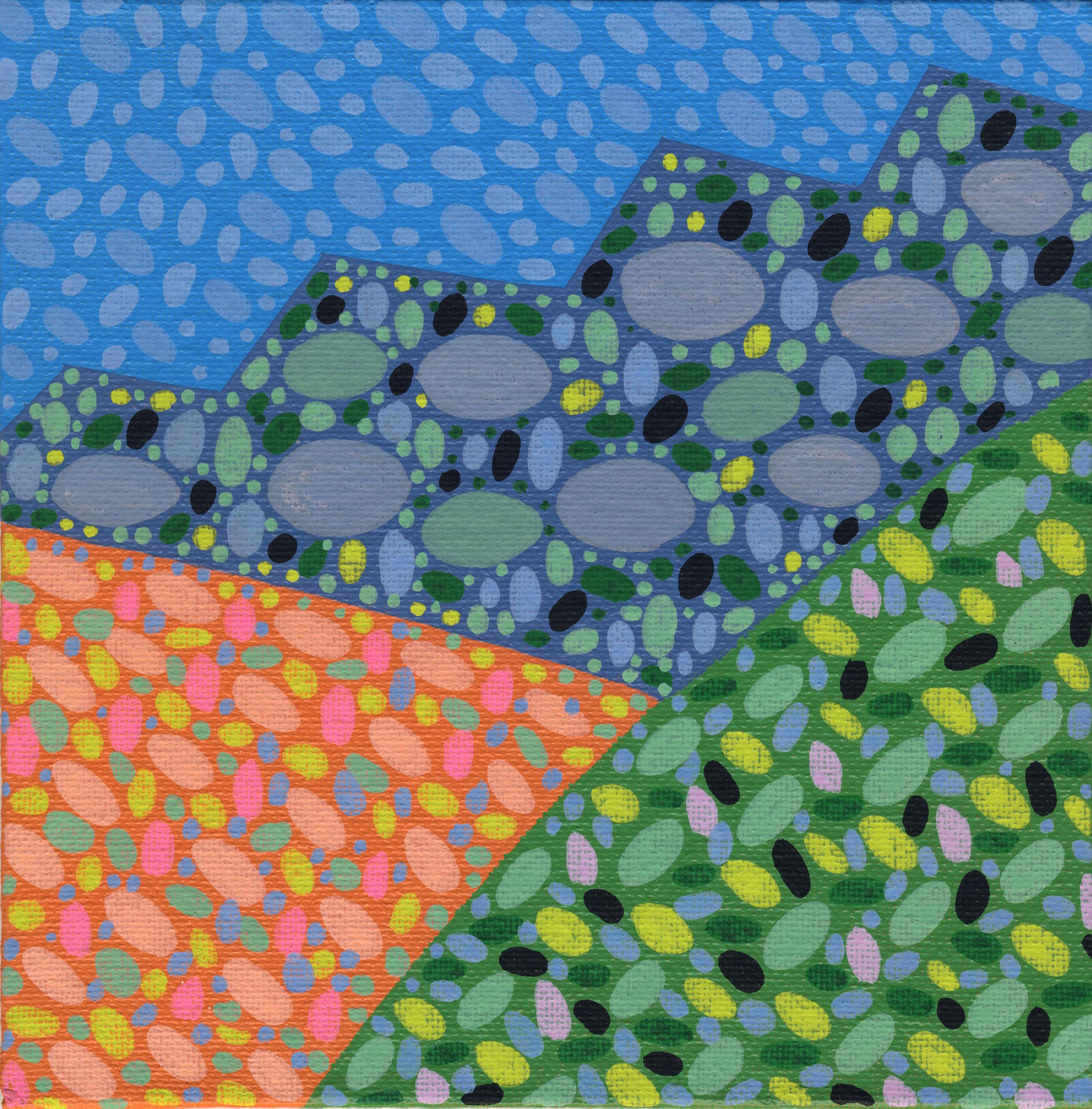 "36/100, Acrylic on canvas panel, 6"" X 6"", 2/11/19"