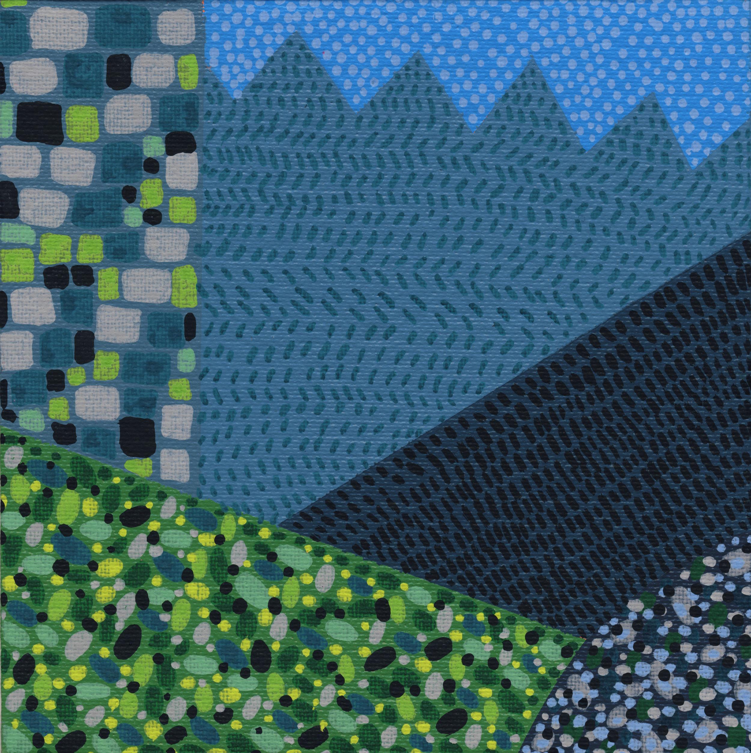 "38/100, Acrylic on canvas panel, 6"" X 6"", 2/13/19"