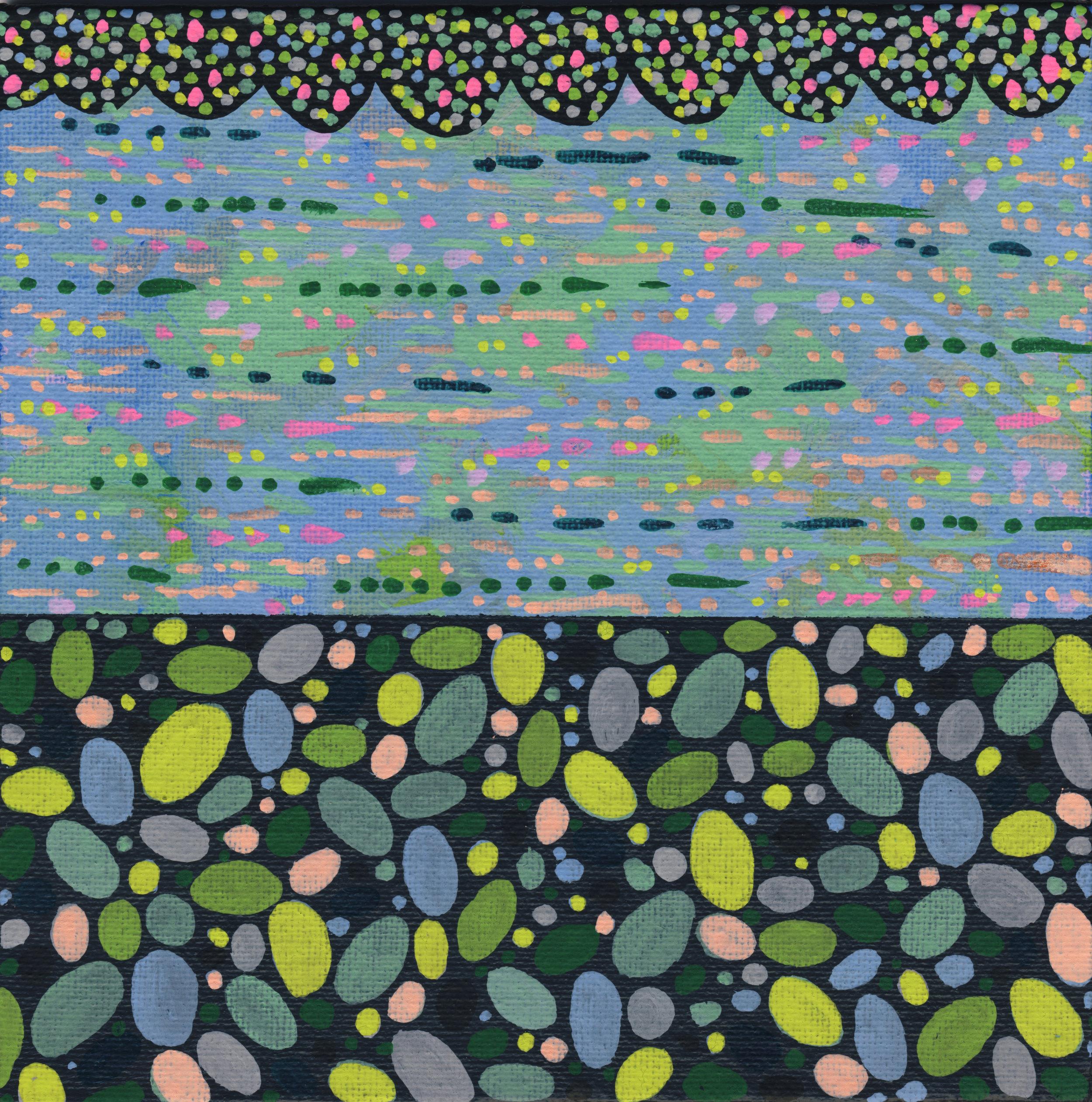 "55/100, Acrylic on canvas panel, 6"" X 6"", 3/2/19"