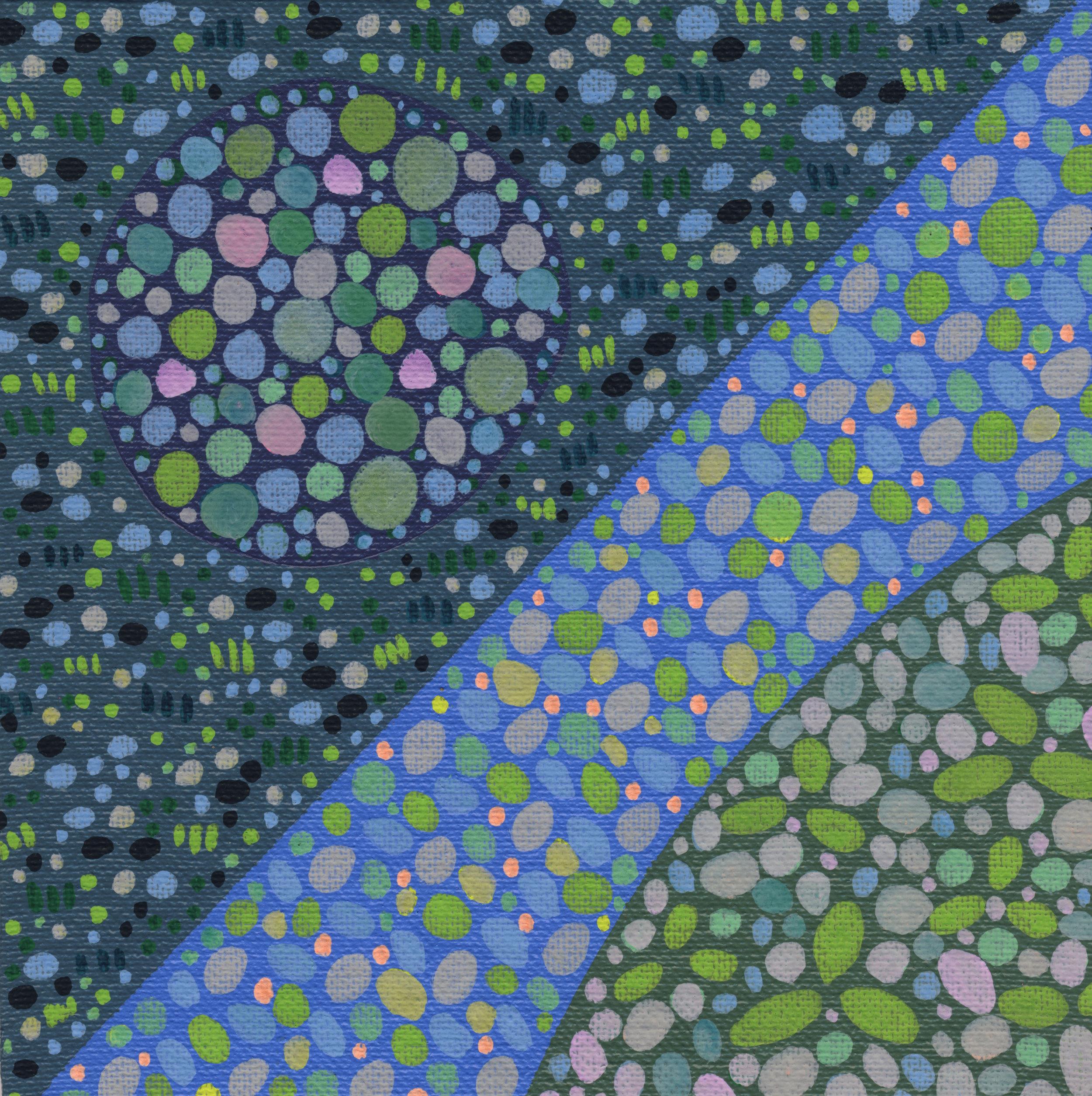 "59/100, Acrylic on canvas panel, 6"" X 6"", 3/6/19"