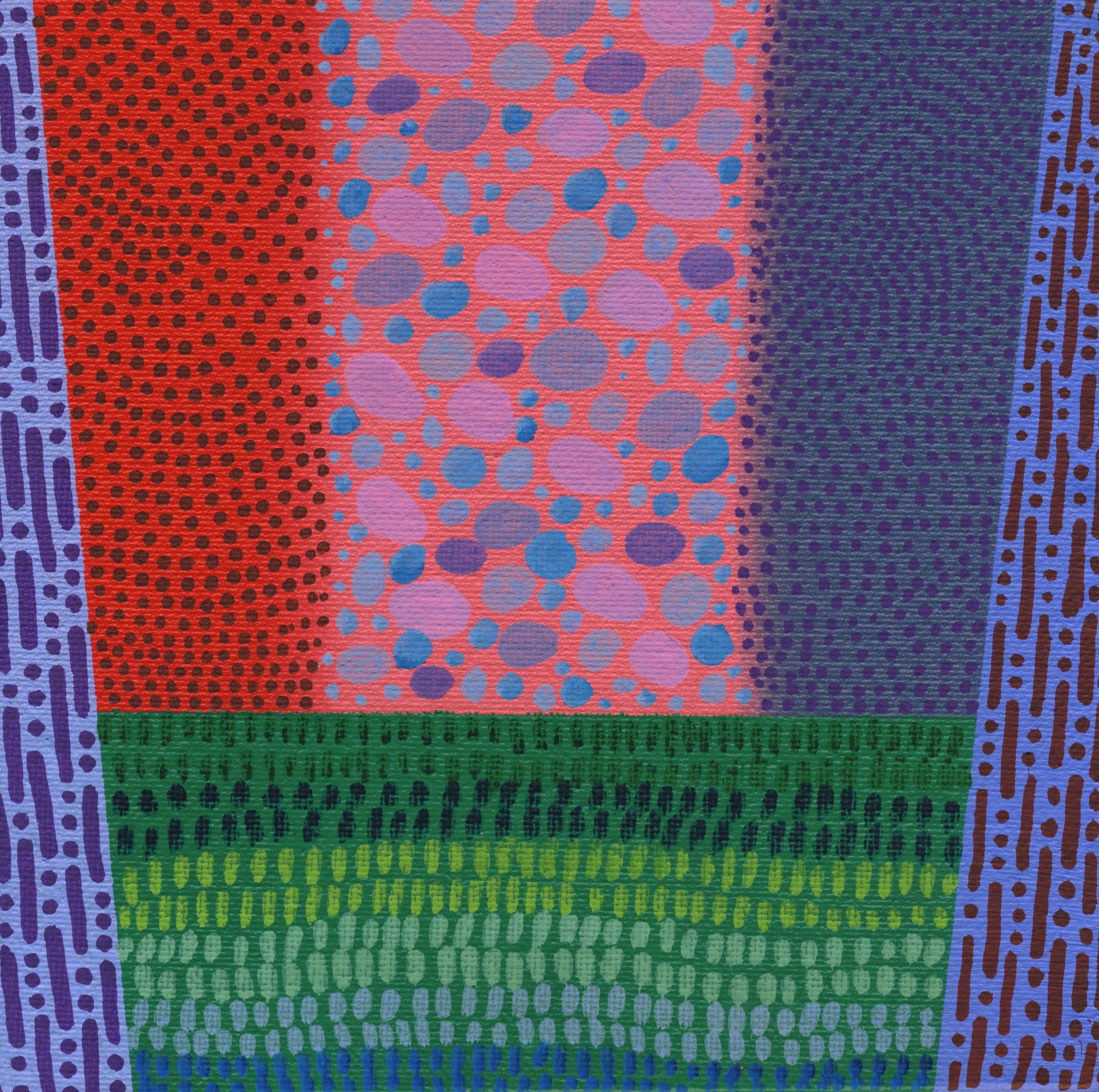 "77/100, Acrylic on canvas panel, 6"" X 6"", 3/24/19"