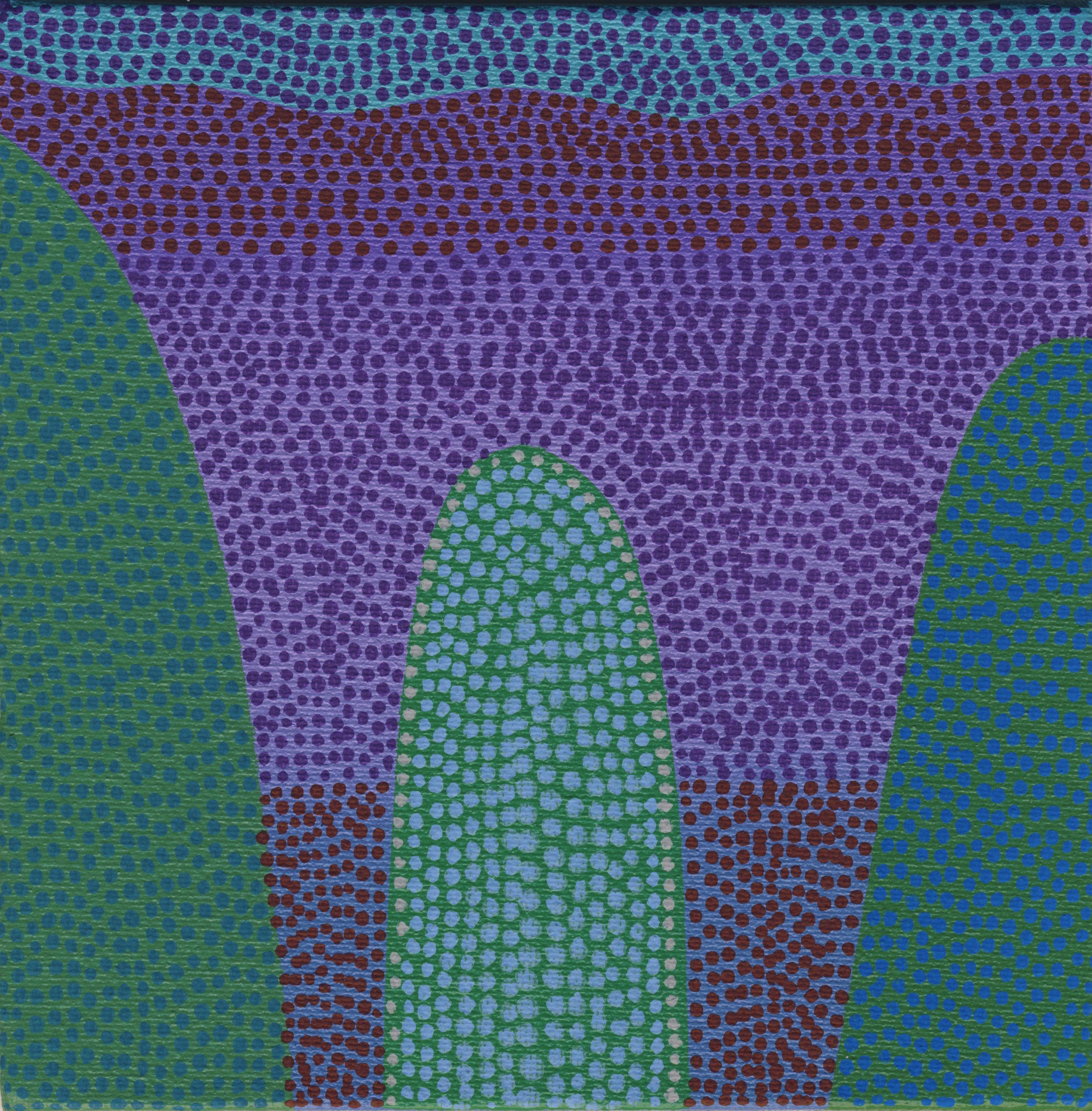 "87/100, Acrylic on canvas panel, 6"" X 6"", 4/3/19"