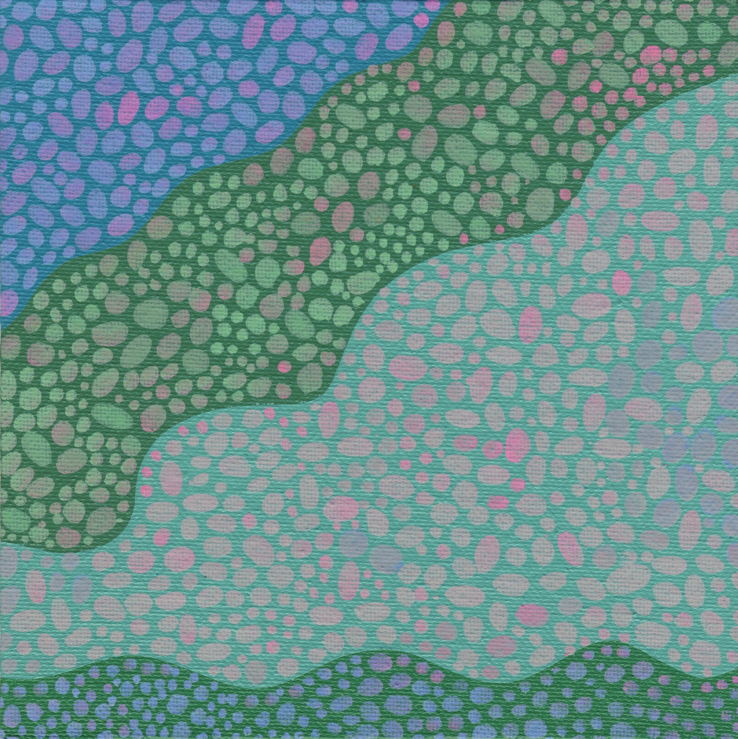 "90/100, Acrylic on canvas panel, 6"" X 6"", 4/6/19"