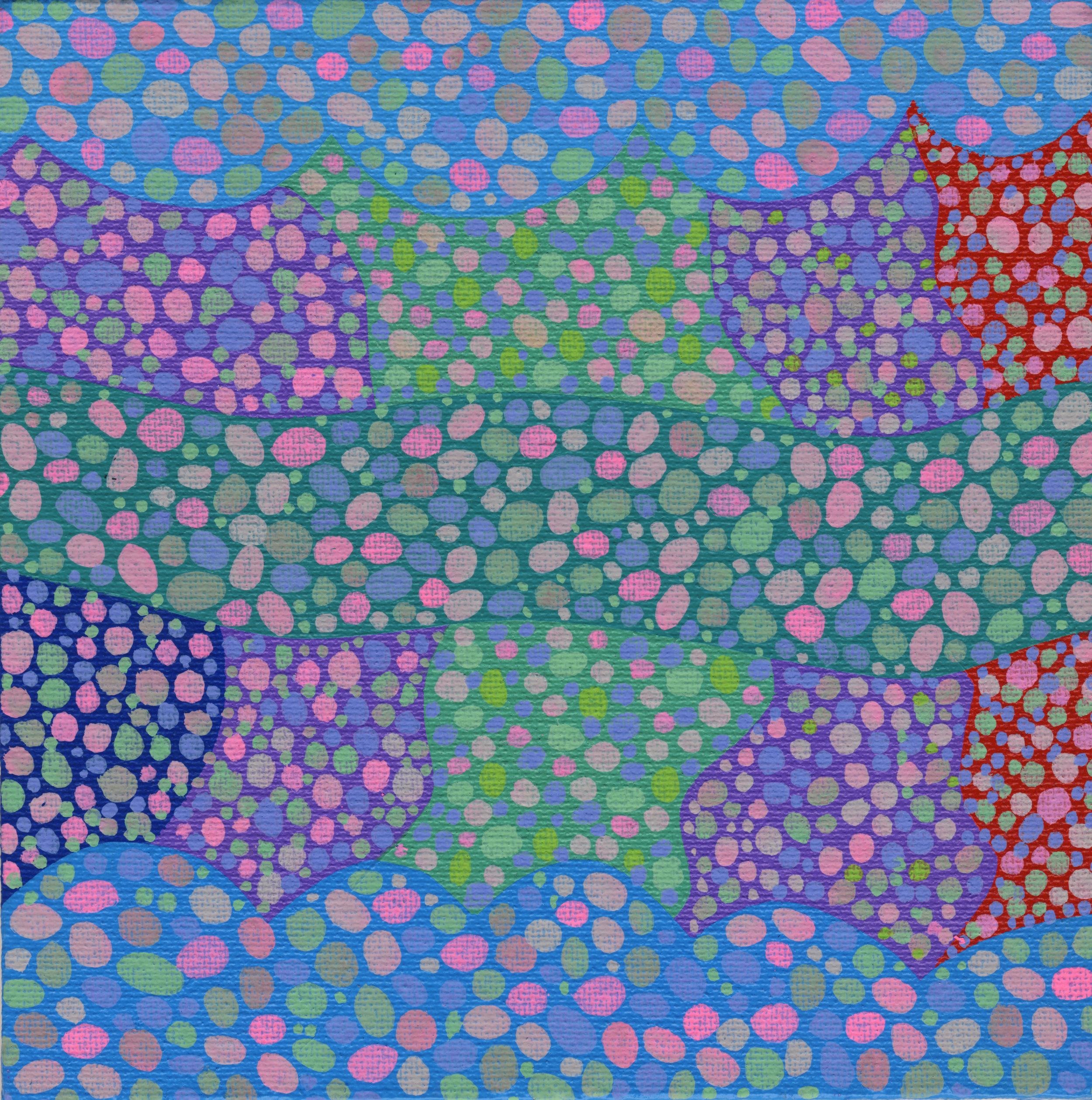 "100/100, Acrylic on canvas panel, 6"" X 6"", 4/16/19"