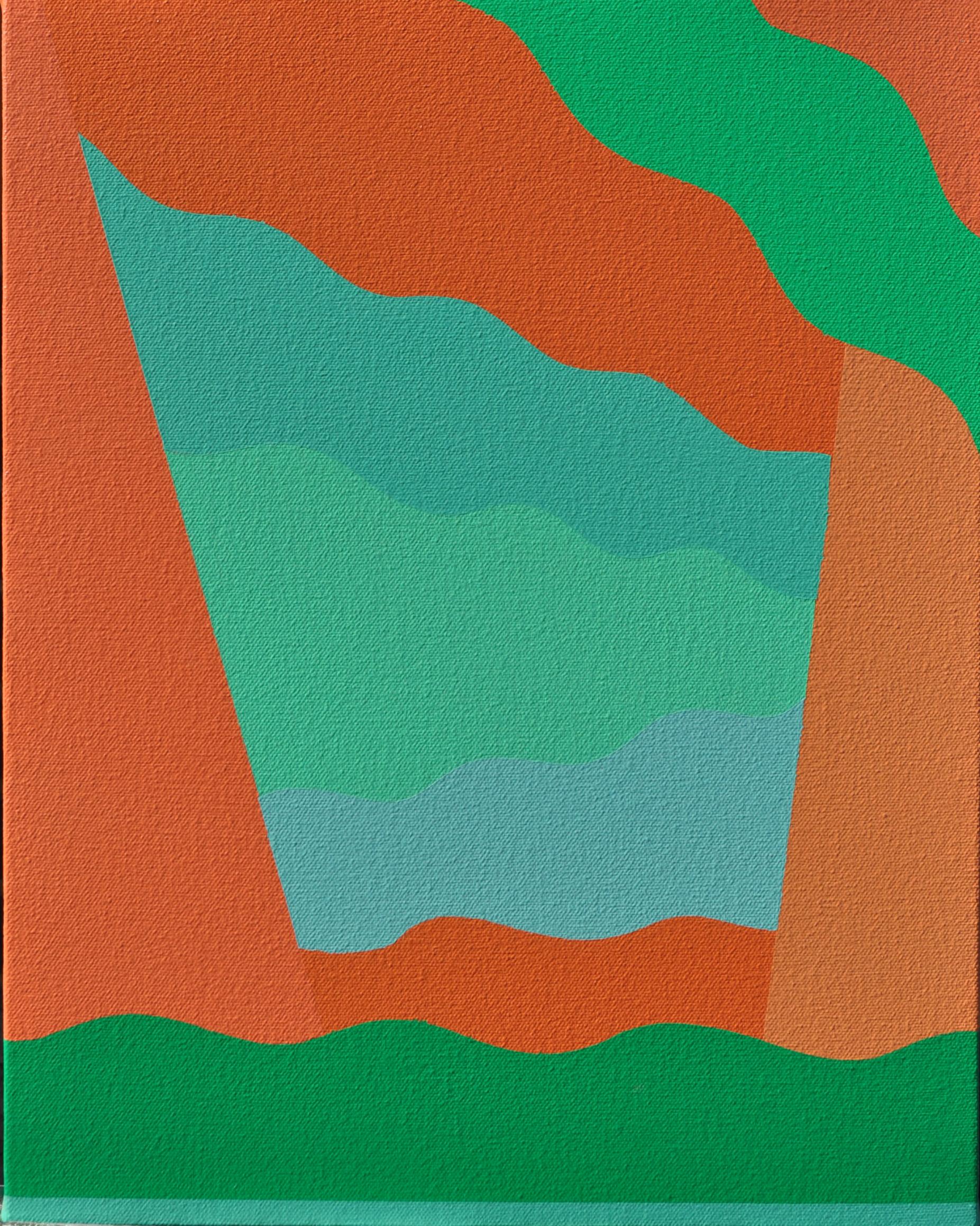 "Orange Buzz (A), 2018, 14"" X 11"", Acrylic on canvas."