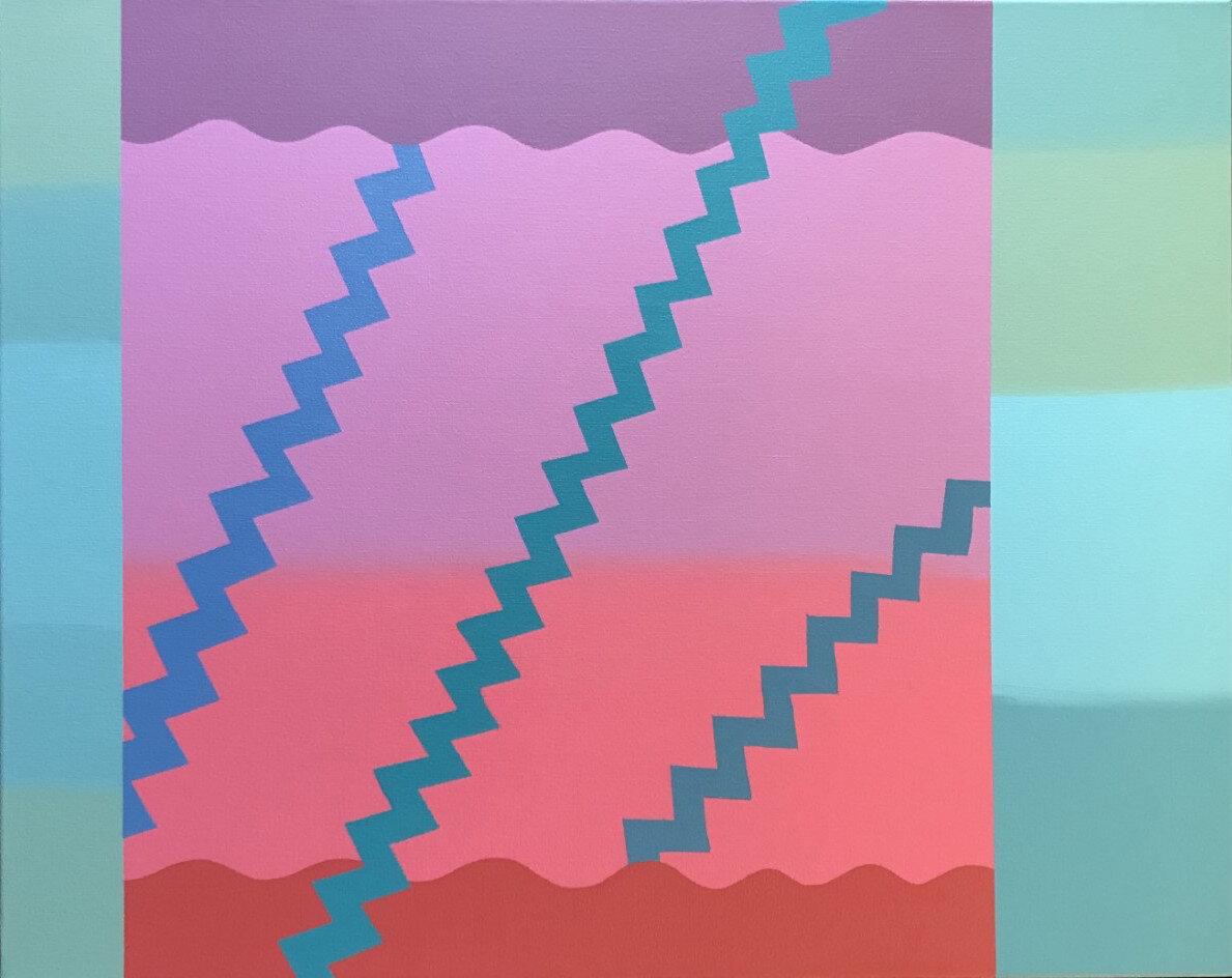 "Step Sequence, 2019, Acrylic on canvas, 24"" X 30"""