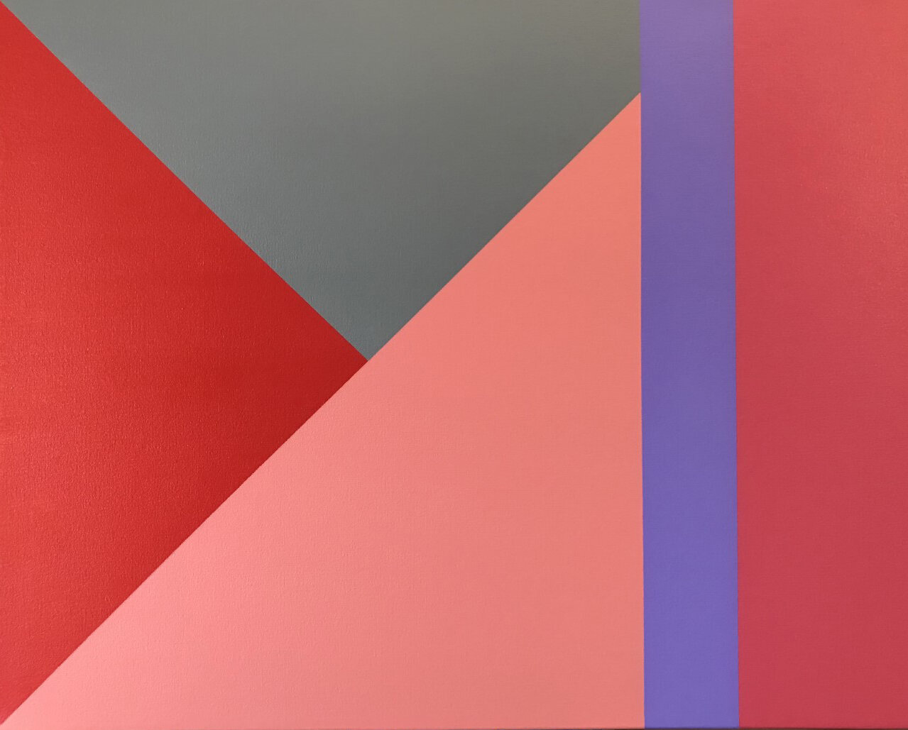 """Triangle Hills (Red), 2019, Acrylic on canvas, 24"""" X 30"""""""