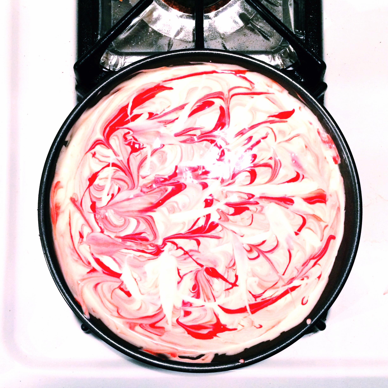 Marbled red velvet cheesecake
