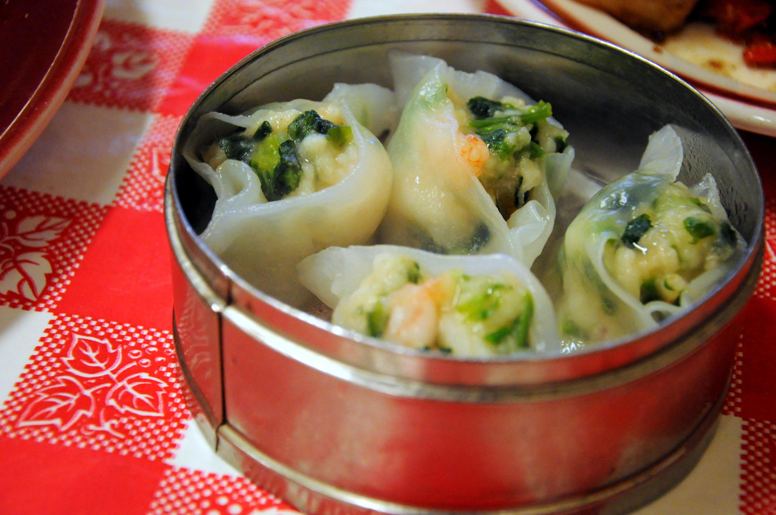 Shrimp and snow pea leaf dumplings at Nom Wah Tea Parlor