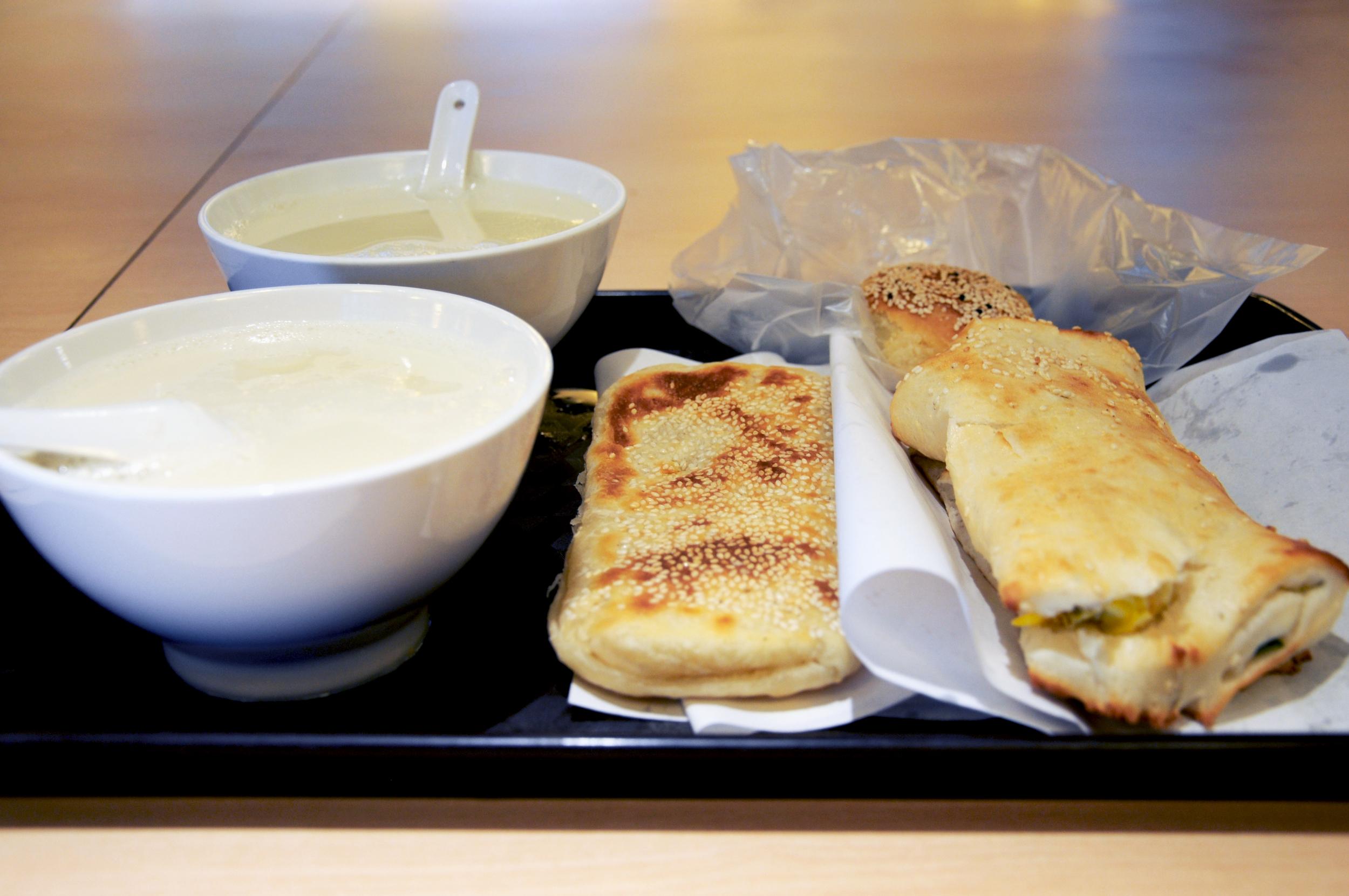 Soy milk and  shao bing  at Fu Hang Dou Jiang