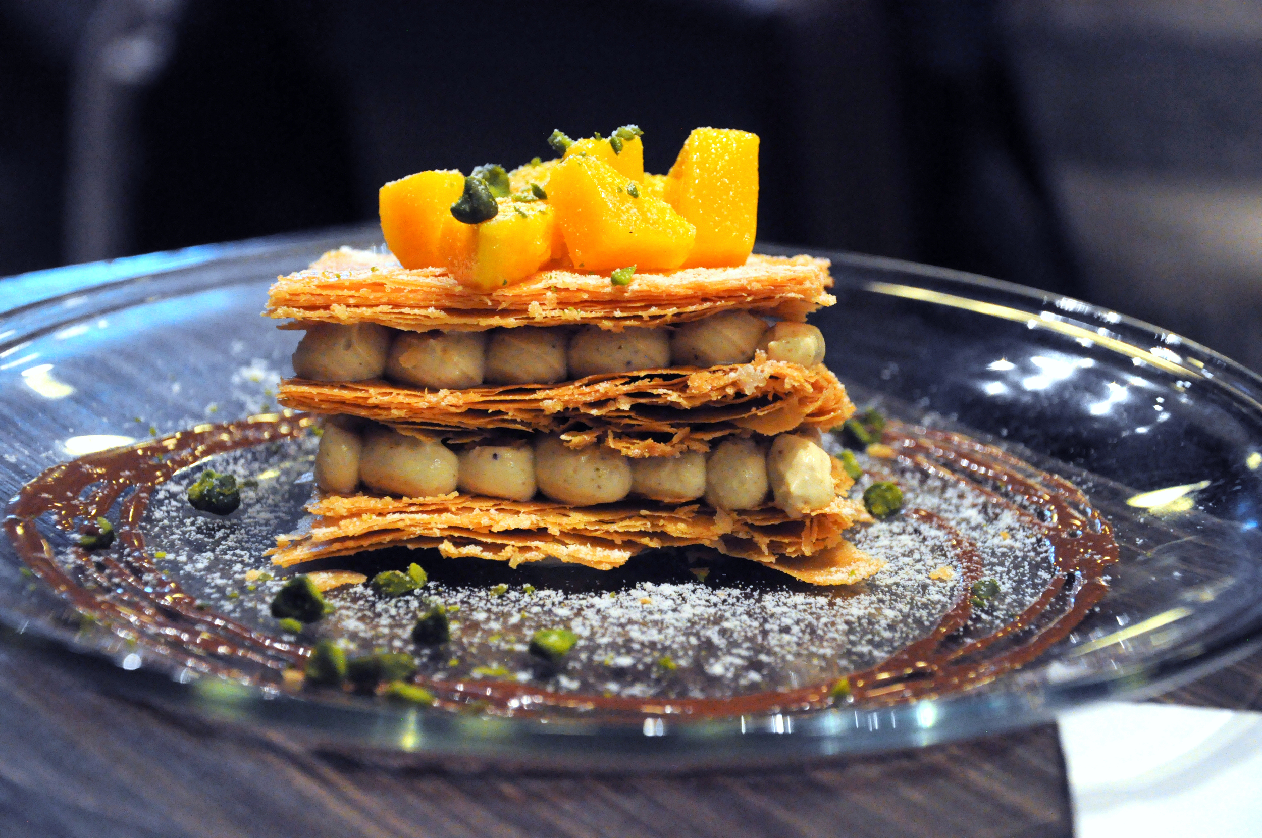 Mango and pistachio cream Napoleon at Ocio