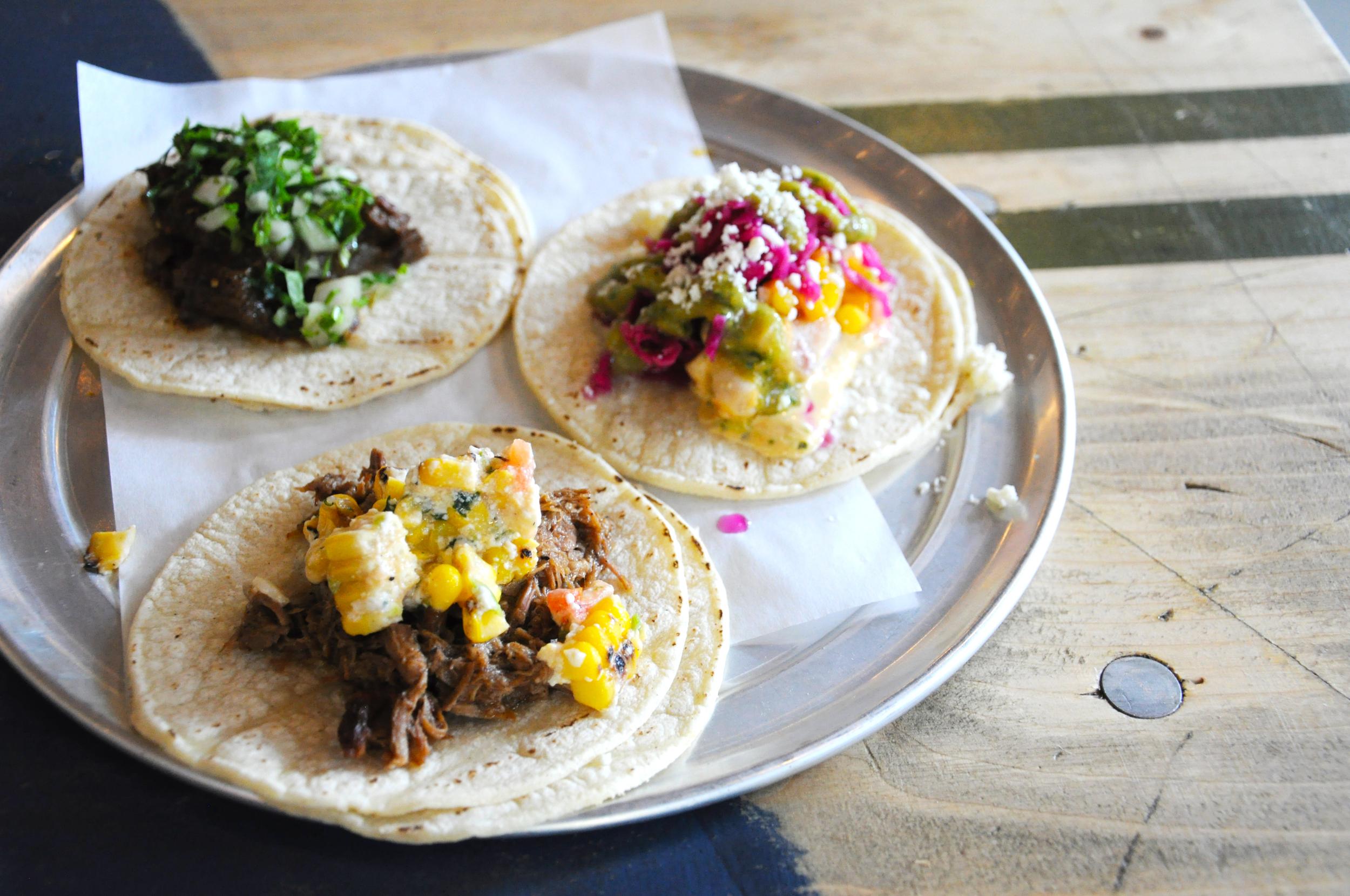 Tacos at Choza Taqueria inside Gotham West Market