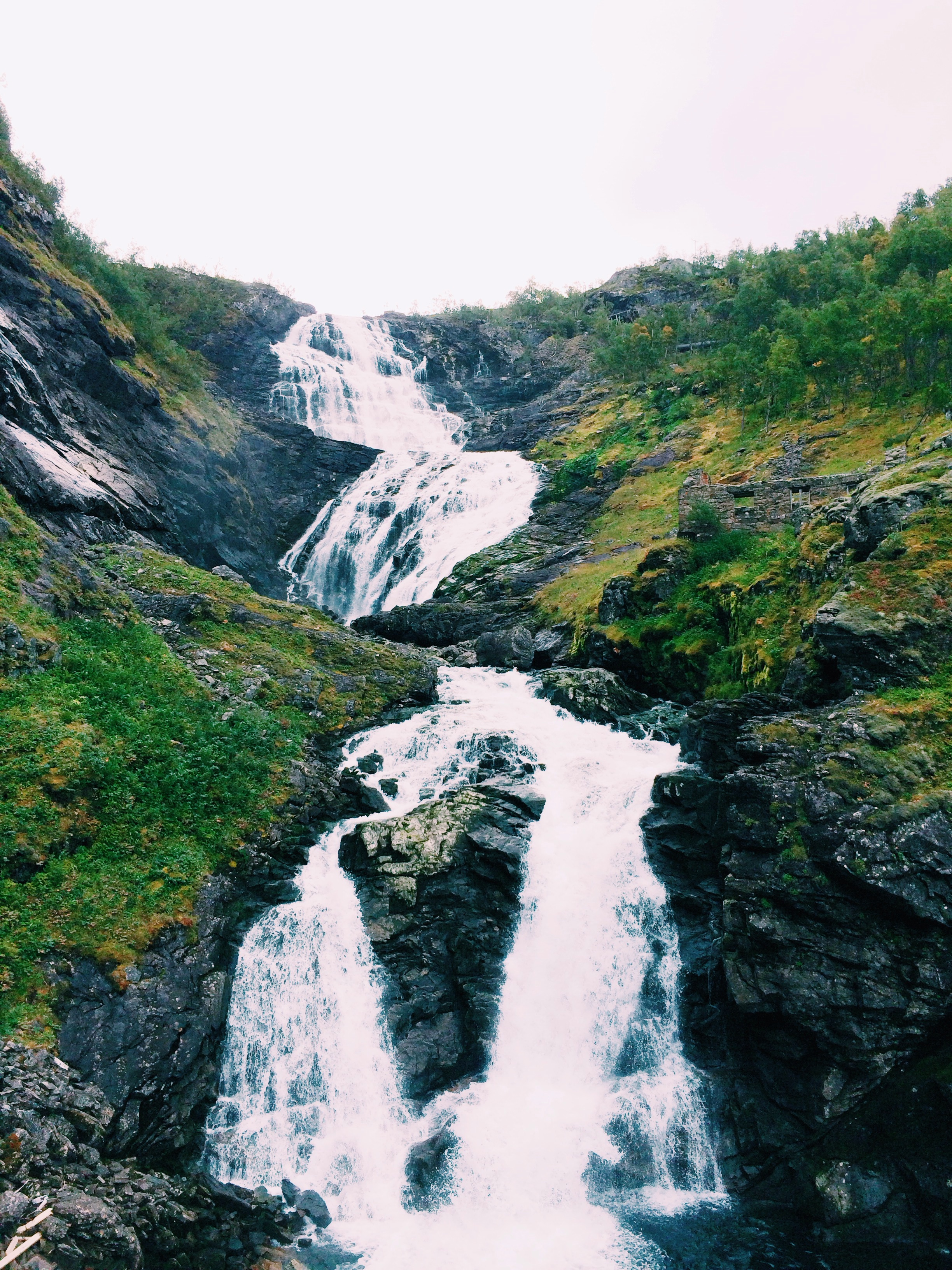 Kjosfossen  waterfall along the Flåm Railway