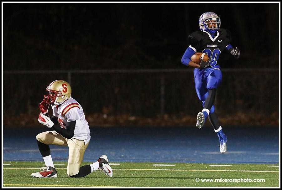 Mike Ross Connecticut freelance -Bunnell High School's #80 Devante Teel celebrates after scoring a first half touchdown on Wednesday evening. Bunnell would win 57-26.