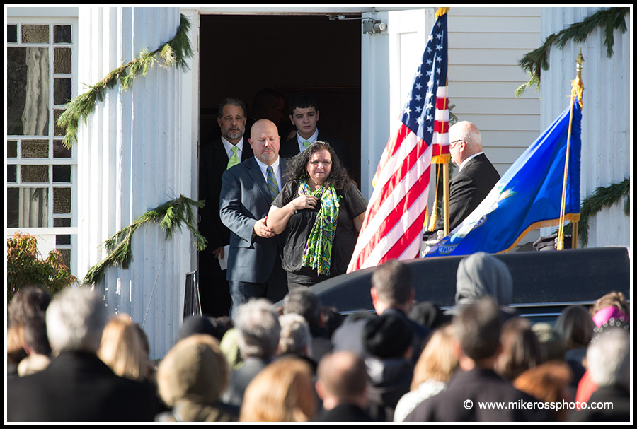 Mike Ross Connecticut freelance -A grief stricken Donna Soto mother of Victoria Soto, the first-grade teacher at Sandy Hook Elementary School who was shot and killed while protecting her students, wathces as they place her daugthers body into the hearse during funeral services at Lordship Community Church on December 15, 2012 in Stratford, Connecticut.