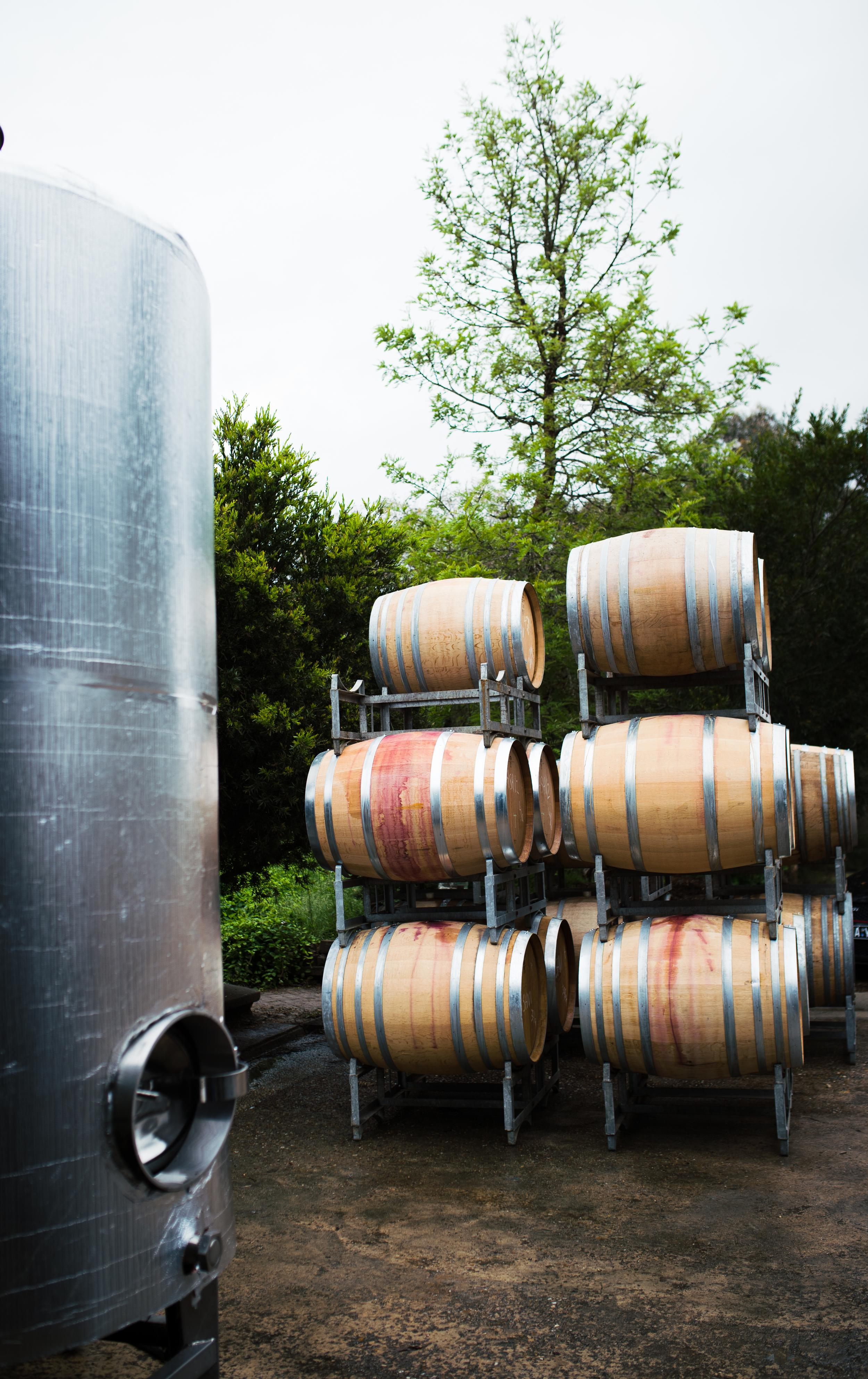 Lark Hill Winery; Barrels