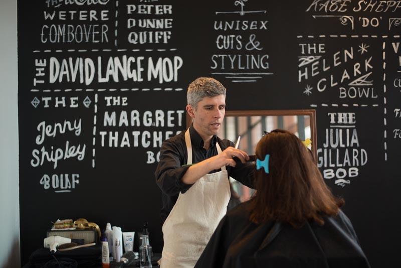 Hairdresser Jason Muir seeks political conversation at Political Cuts.